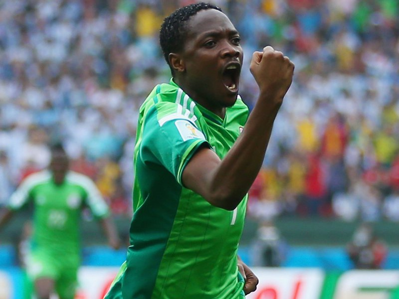 360 - 8 x 6 Photo - Football - FIFA World Cup 2014 - Argentina v Nigeria Ahmed Musa Scores