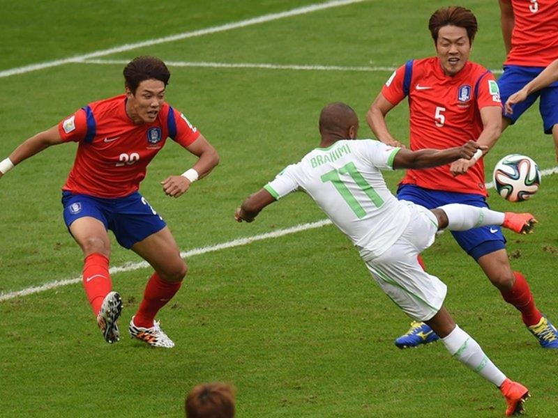 388 - 8 X 6 Photo - Football - FIFA World Cup 2014 - Algeria V South Korea - Yacine Brahimi Scores