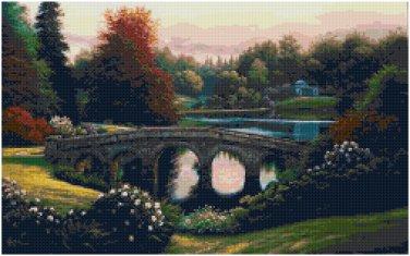 PEACEFUL GARDEN BRIDGE - GARDEN CROSS STITCH PATTERN PDF ONLY