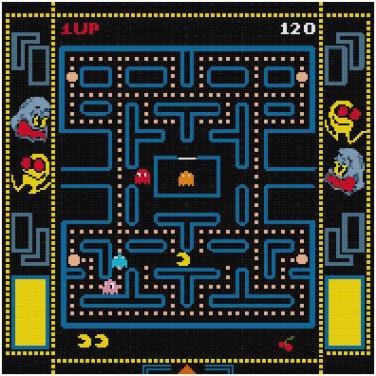 PAC MAN GAMEBOARD CROSS STITCH PATTERN PDF ONLY