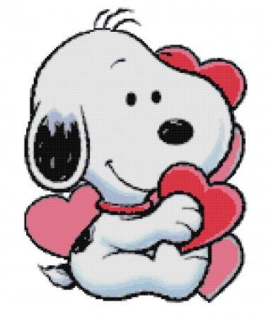 BABY SNOOPY VALENTINES CROSS STITCH PATTERN PDF ONLY