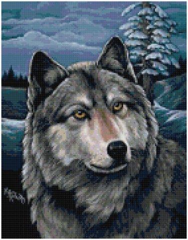 NIGHT WOLF CROSS STITCH PATTERN PDF ONLY