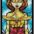 DISNEY BELLE BEAUTY AND THE BEAST STAINED GLASS  CROSS STITCH PATTERN PDF ONLY