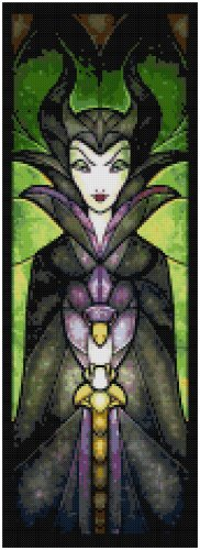DISNEY MALEFICENT SLEEPING BEAUTY STAINED GLASS  CROSS STITCH PATTERN PDF ONLY