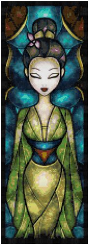 DISNEY MULAN STAINED GLASS  CROSS STITCH PATTERN PDF ONLY