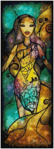 DISNEY POCAHONTAS STAINED GLASS  CROSS STITCH PATTERN PDF ONLY