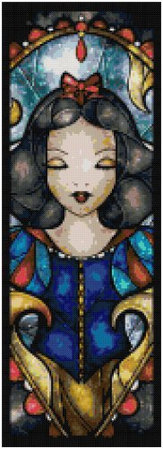 DISNEY SNOW WHITE STAINED GLASS  CROSS STITCH PATTERN PDF ONLY