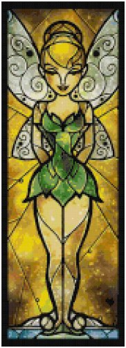 DISNEY TINKERBELL PETER PAN STAINED GLASS  CROSS STITCH PATTERN PDF ONLY