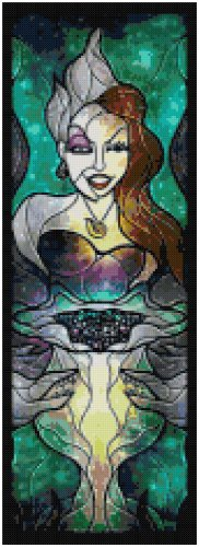 DISNEY URSULA LITTLE MERMAID STAINED GLASS  CROSS STITCH PATTERN PDF ONLY