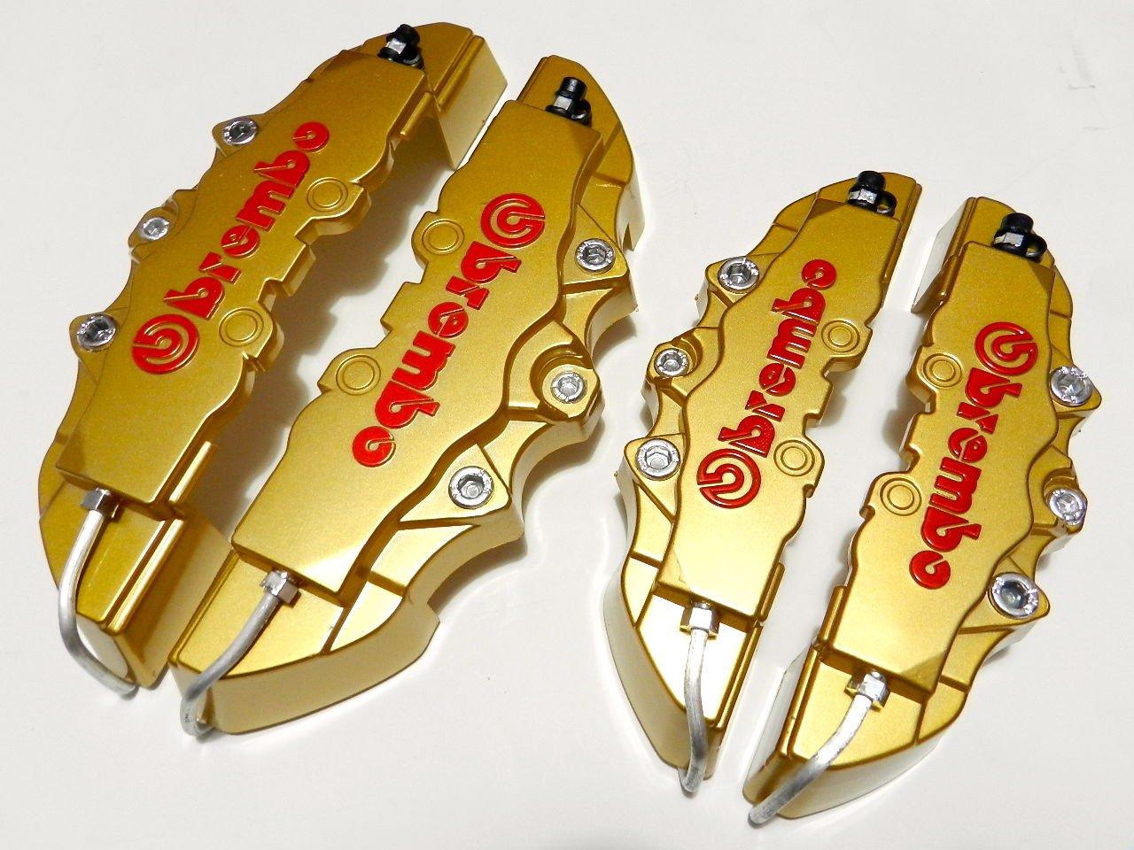 GOLD 4PC F+R UNIVERSAL 3D ABS PLASTIC DISC BRAKE CALIPER COVERS