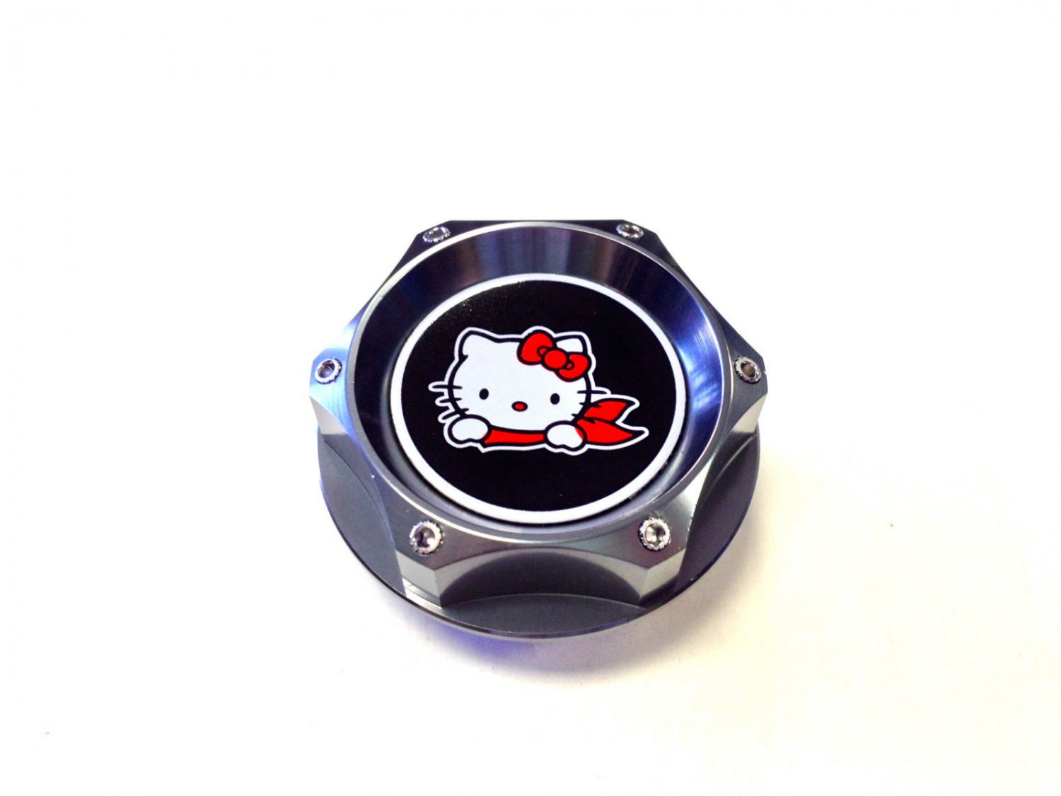 HELLO KITTY TRANSFORMERS BILLET GUNMETAL OIL CAP FOR SUBARU