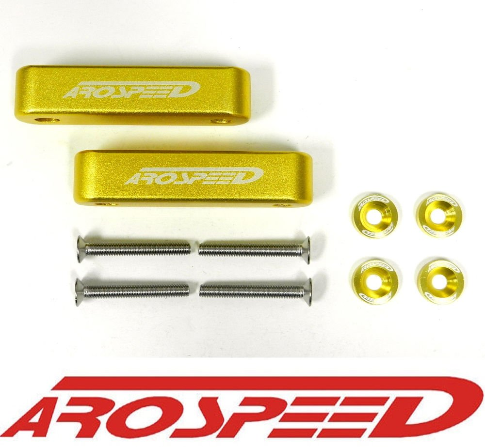 "AROSPEED GOLD CNC BILLET 3/4"" HOOD VENT SPACER RISER KIT + BOLTS + WASHERS"