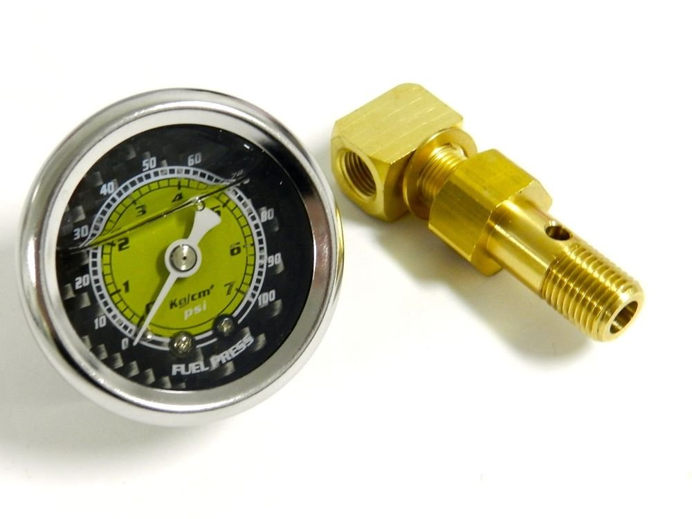 VMS RACING 0-100 PSI FUEL PRESSURE GAUGE YELLOW/CARBON FIBER FOR HONDA ACURA