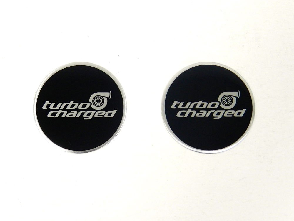 2 ROUND TURBOCHARGED ALUMINUM EMBLEMS BADGES RARE PAIR