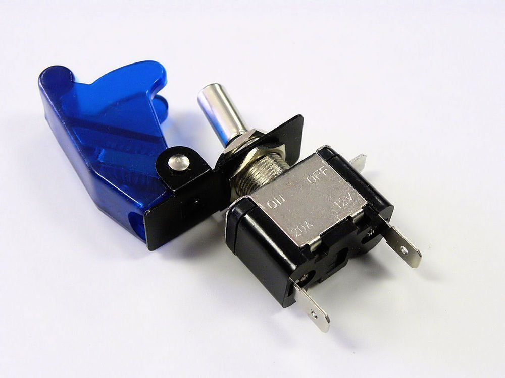 UNIVERSAL RACING LED ILLUMINATED ON/OFF TOGGLE ROCKER SWITCH BLUE COVER D