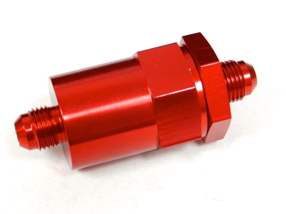 UNIVERSAL CNC ALUMINUM WASHABLE RACING INLINE FUEL FILTER -6 AN6 6AN RED D