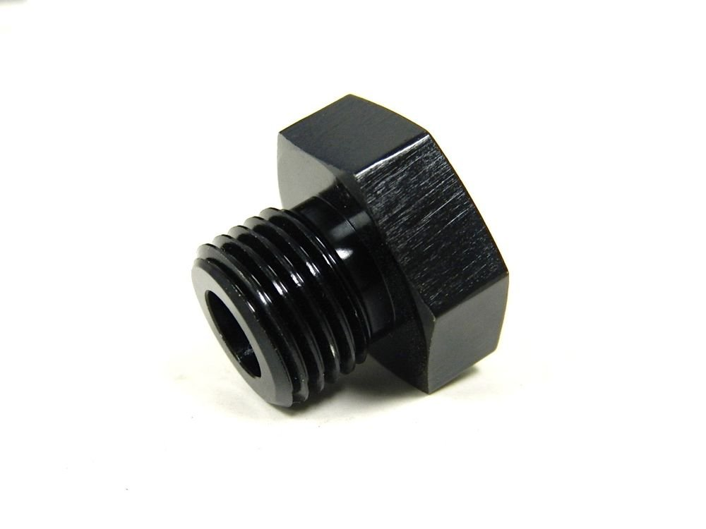 UNIVERSAL ALUMINUM STRAIGHT -8 AN8 8AN O-RING PORT PLUG FITTING BLACK