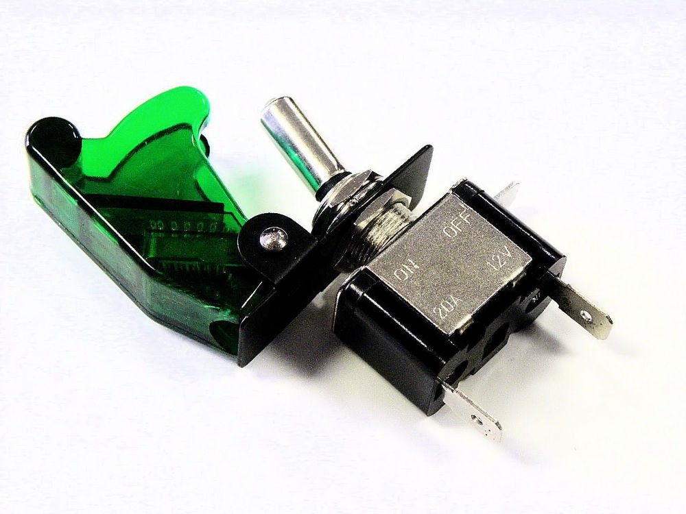 UNIVERSAL RACING LED ILLUMINATED ON/OFF TOGGLE ROCKER SWITCH GREEN COVER E