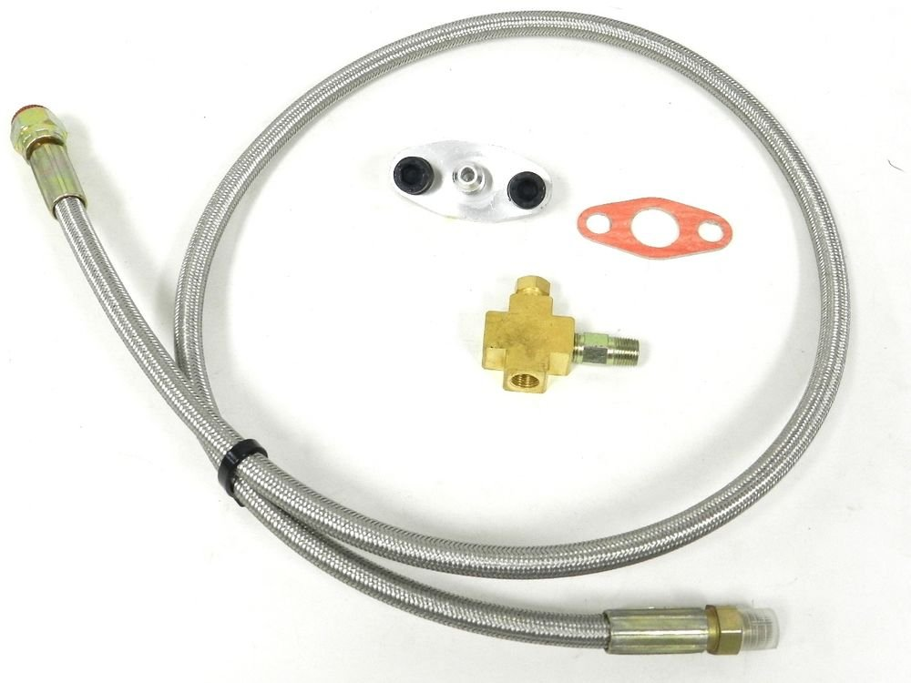 """UNIVERSAL RACING 36"""" 4AN TURBO OIL FEED HOSE LINE FITTING KIT T3 T4 D"""
