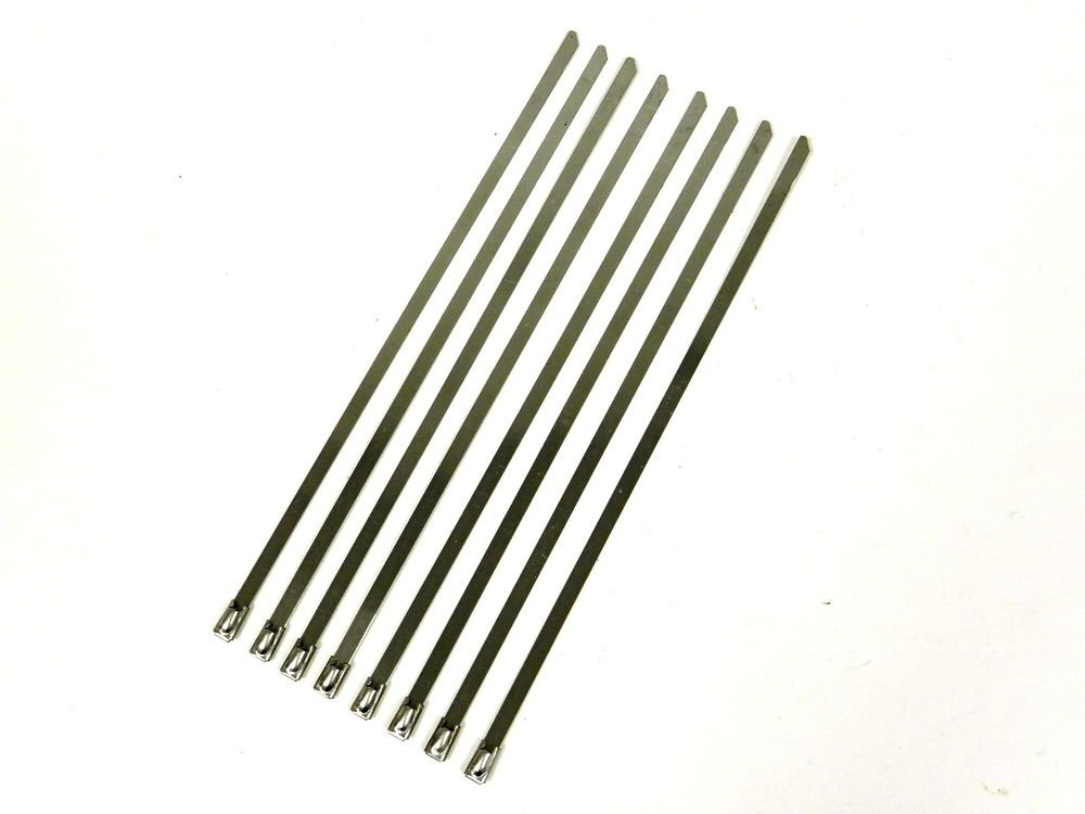 """QTY 8 12"""" UNIVERSAL STAINLESS STEEL LONG ZIP TIE CABLE FOR EXHAUST HEADER WRAP"""
