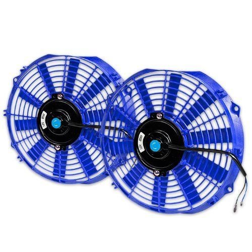 "X2 UNIVERSAL 14"" BLUE ELECTRIC RADIATOR SLIM FAN WITH INSTALLATION KIT"