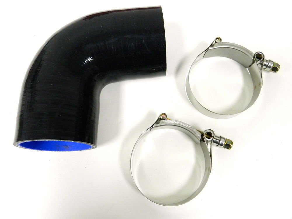 """VMS RACING 3 PLY REINFORCED SILICONE 90� COUPLER & CLAMP KIT - 2.25"""" BLACK"""