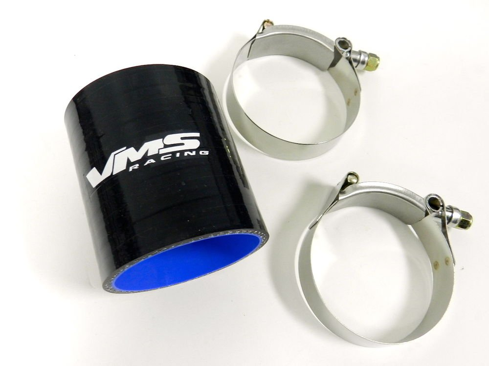 """VMS RACING 3 PLY REINFORCED SILICONE STRAIGHT COUPLER & CLAMP KIT - 4"""" BLACK"""