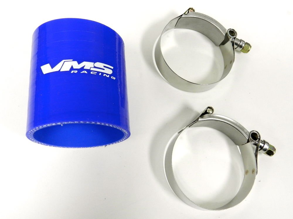 "VMS RACING 3 PLY REINFORCED SILICONE STRAIGHT COUPLER & CLAMP KIT - 2.75"" BLUE"