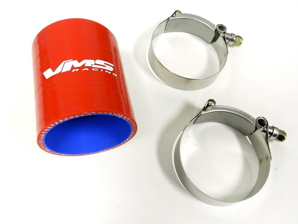 "VMS RACING 3 PLY REINFORCED SILICONE STRAIGHT COUPLER & CLAMP KIT - 2.75"" RED"