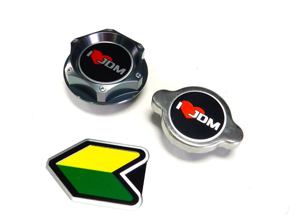 I LOVE JDM NISSAN INFINITI OIL FILLER RADIATOR CAP KIT W/ BEGINNER BADGE