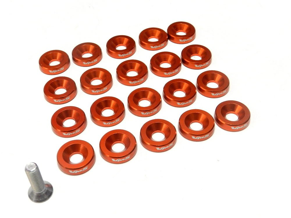 ORANGE FORD MUSTANG 20PC DRESS UP BOLT & WASHER KIT 10MM