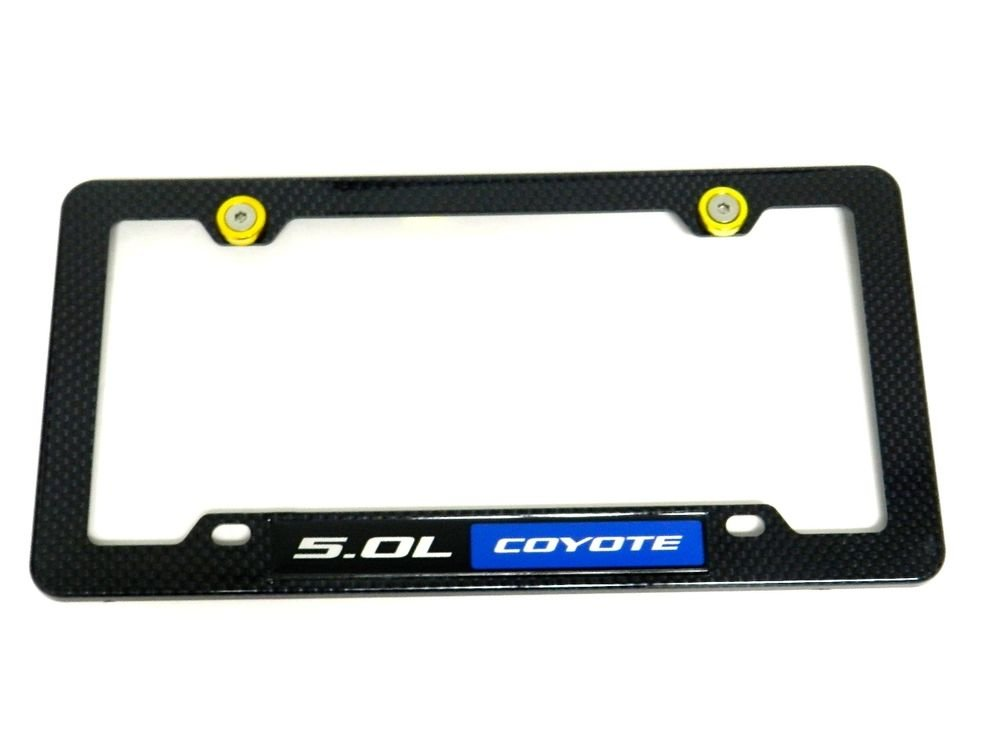 5.0L COYOTE CARBON FIBER LOOK LICENSE PLATE FRAME W/ 2 GOLD WASHERS & BOLTS BL
