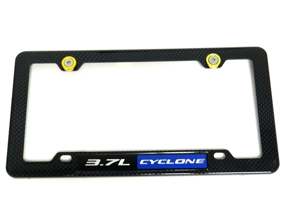3.7L CYCLONE CARBON FIBER LOOK LICENSE PLATE FRAME W/ 2 GOLD WASHERS & BOLTS BL