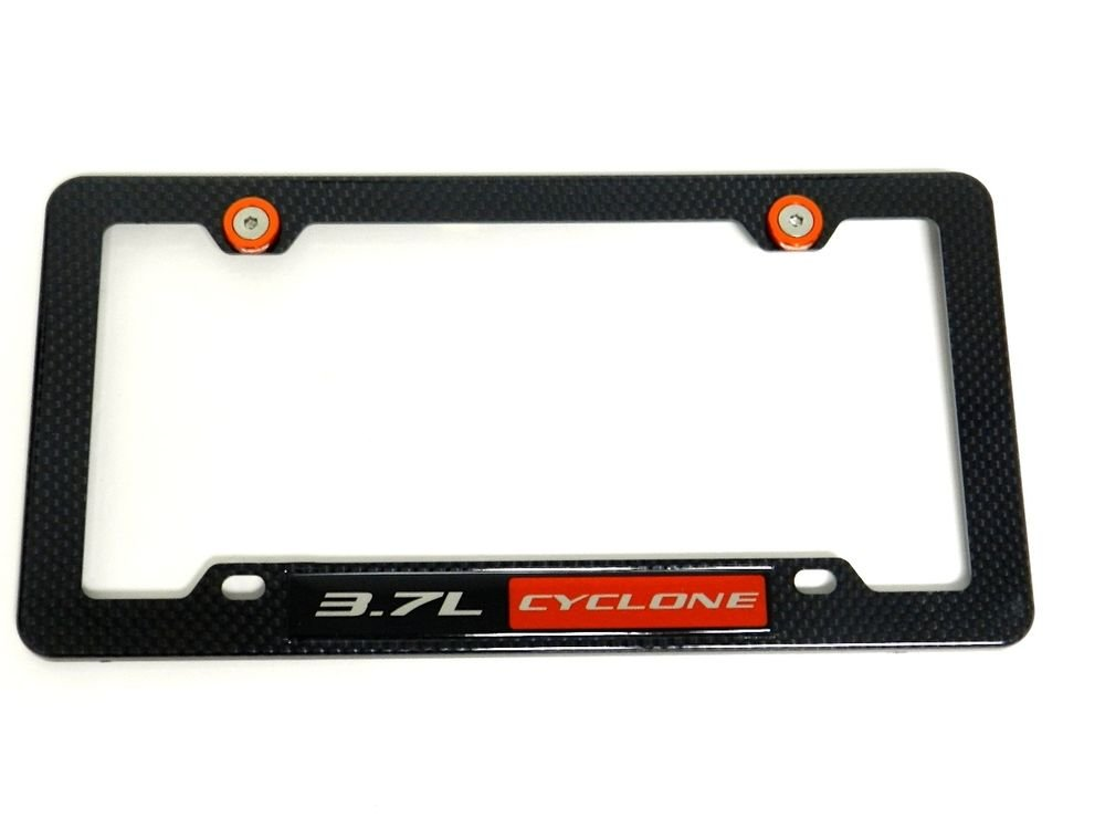 3.7L CYCLONE CARBON FIBER LOOK LICENSE FRAME W/ 2 ORANGE WASHERS & BOLTS RD
