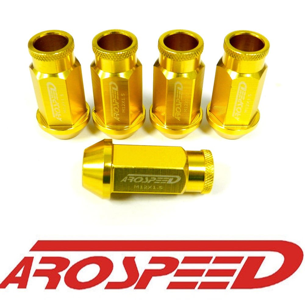 20PC 12X1.5MM 50MM FORGED ALUMINUM RACING LUG NUT SET GOLD B