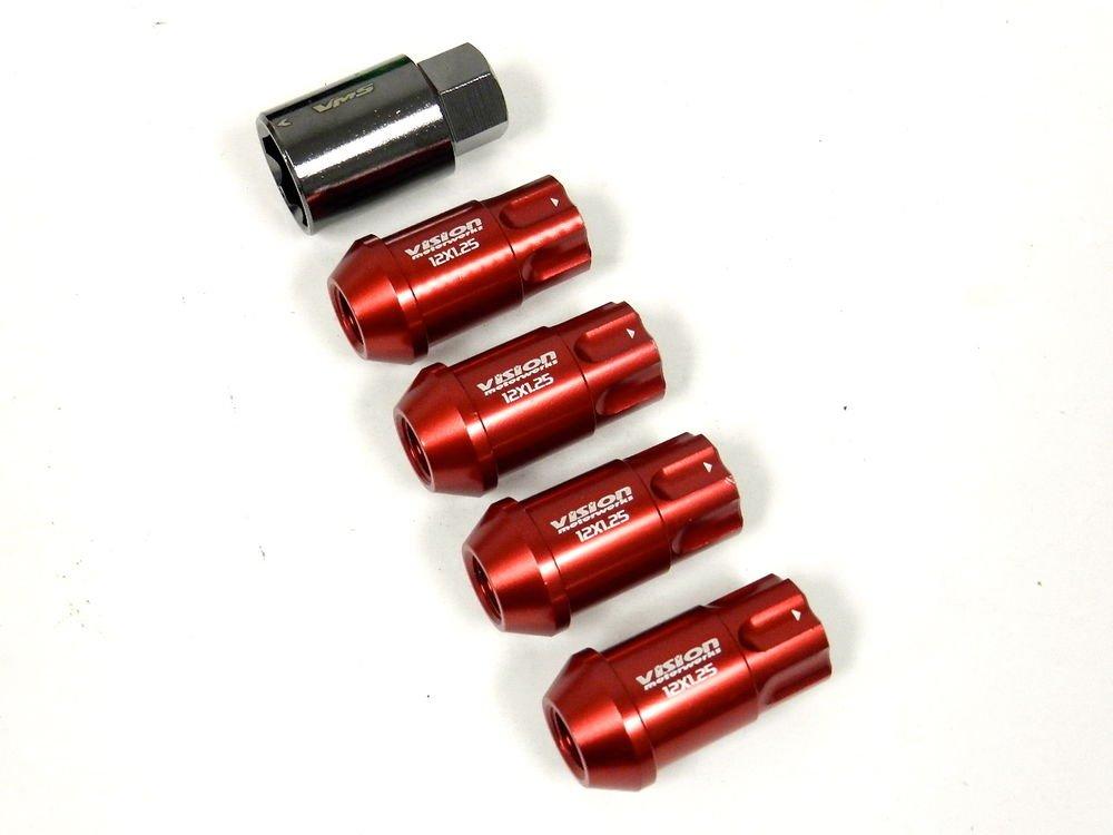 20PC VMS RACING SUBARU 12X1.25MM ALUMINUM LOCKING LUG NUT SET RED