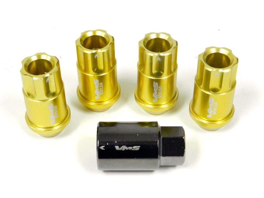GOLD 4PC LOCKING LUG NUTS WITH KEY SUBARU IMPREZA LEGACY BRZ FORESTER OUTBACK