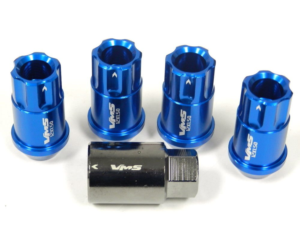 BLUE 4PC LOCKING LUG NUTS WITH KEY SUBARU IMPREZA LEGACY BRZ FORESTER OUTBACK
