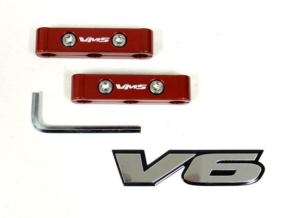 RED 2PC 3 HOLE V6 V12 SPARK PLUG WIRE DIVIDERS SEPARATORS W/ FREE EMBLEM