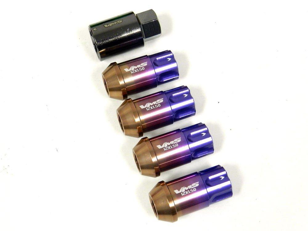 16PC VMS CHEVY CORVETTE C4 C5 C6 12X1.5MM ALUMINUM LOCK LUG NUTS TITANIUM BURN