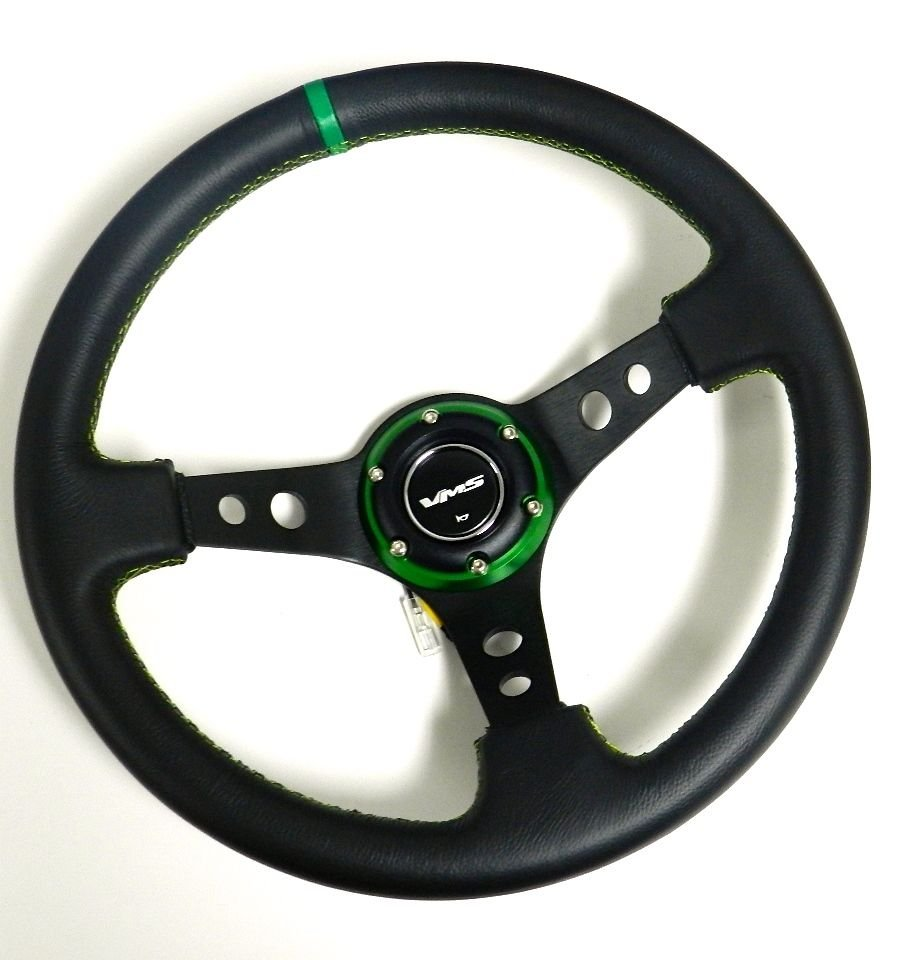 VMS RACING UNIVERSAL 6-BOLT 350MM LEATHER GREEN DEEP DISH STEERING WHEEL E