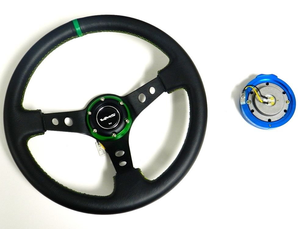 VMS RACING UNIVERSAL GREEN STEERING WHEEL & BLUE QUICK RELEASE KIT E