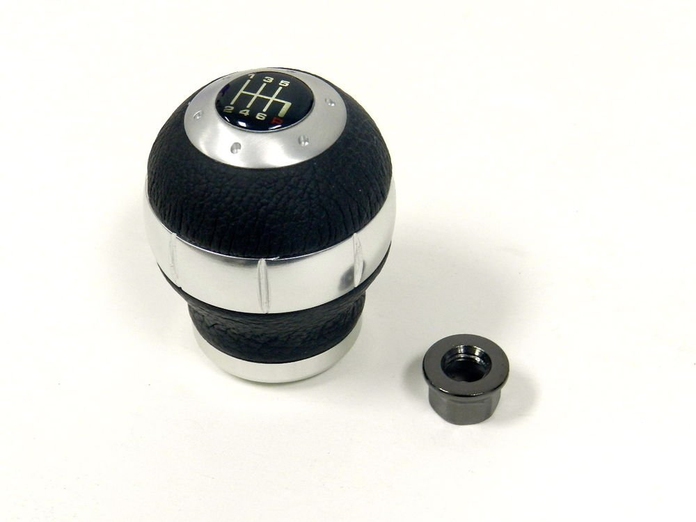 RACING SHIFT KNOB ALUMINUM W/ REAL LEATHER FOR NISSAN 10X1.25MM - 6 SPEED MT