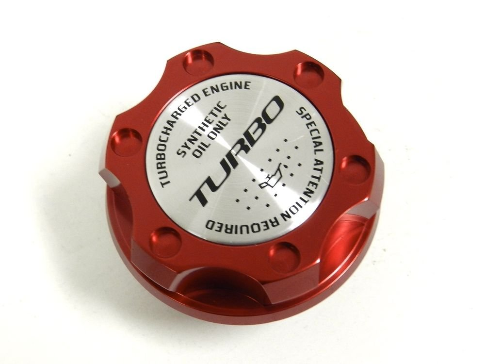 RED TURBO BILLET RACING ENGINE OIL FILLER CAP FOR SUBARU