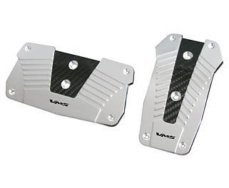 VMS RACING ALUMINUM PEDAL PAD COVER KIT AUTO TRANSMISSION AT 2PC - SILVER