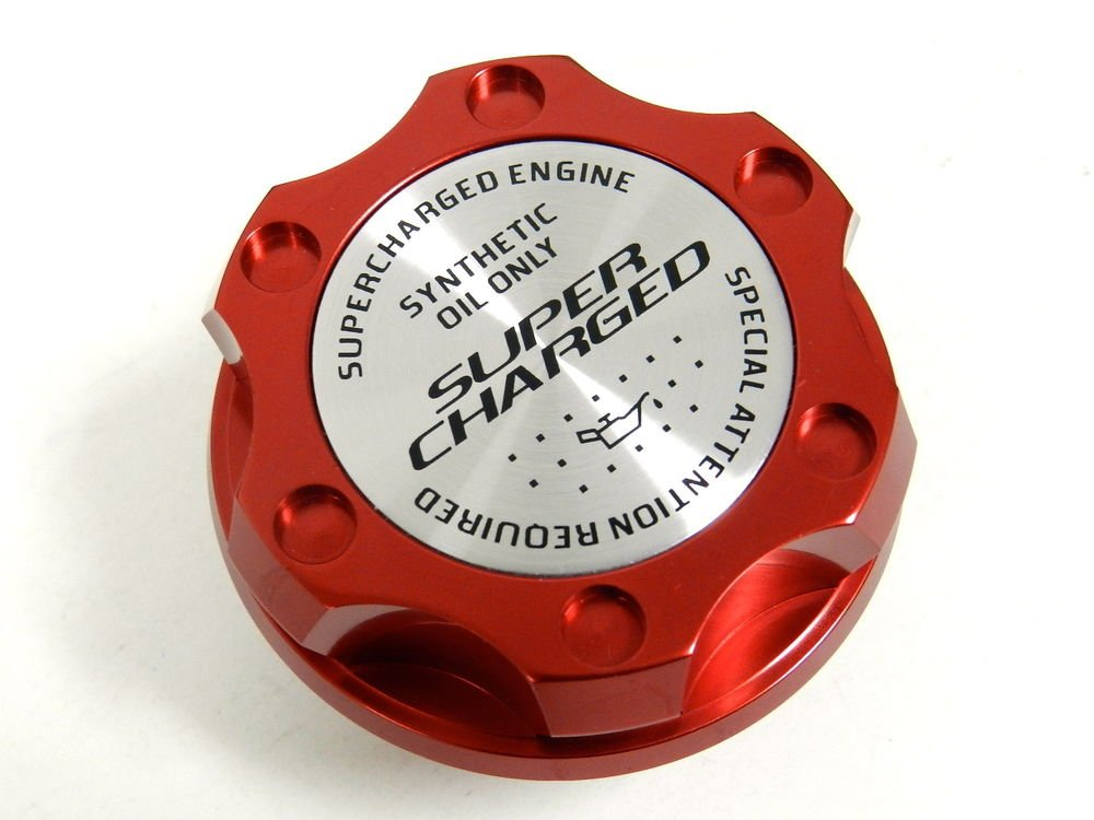 RED SUPERCHARGED BILLET CNC RACING ENGINE OIL FILLER CAP FOR MITSUBISHI
