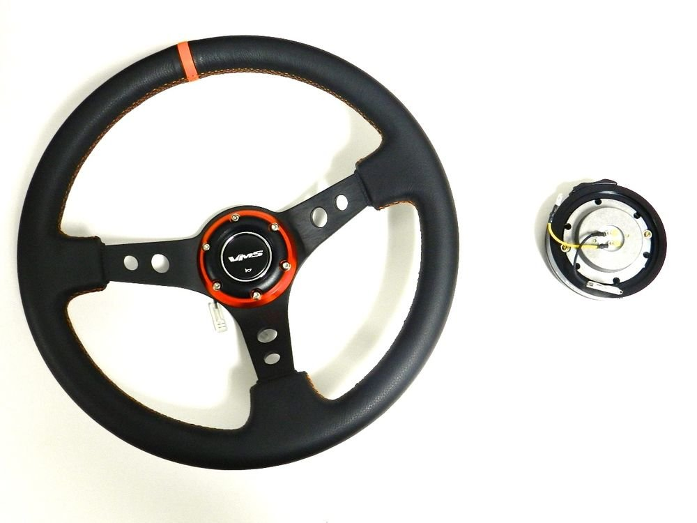 VMS RACING UNIVERSAL 6-BOLT ORANGE STEERING WHEEL & BLACK QUICK RELEASE KIT E