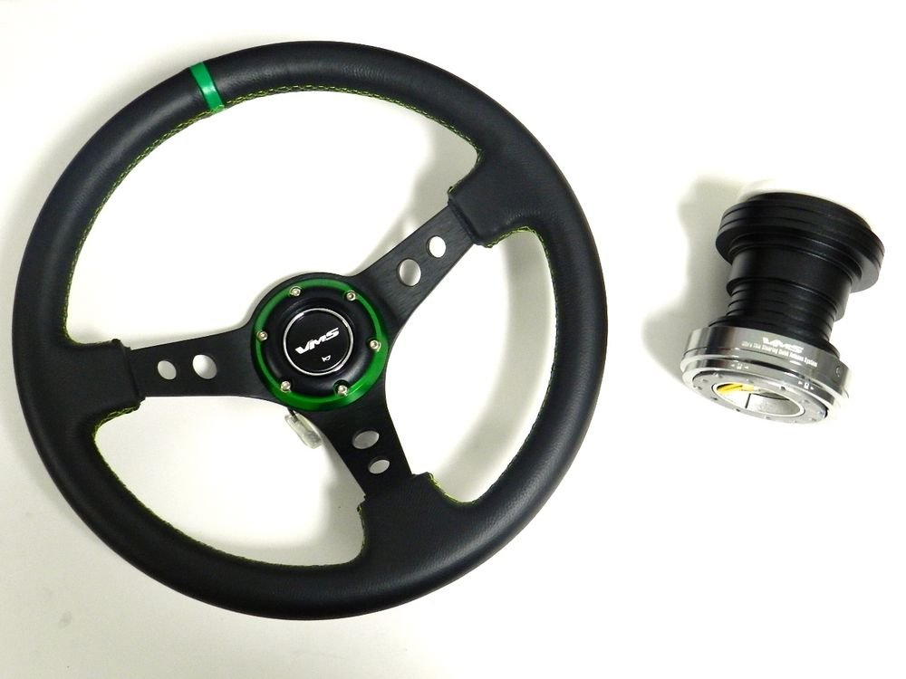 VMS GREEN STEERING WHEEL & GUNMETAL QUICK RELEASE HUB KIT FOR HONDA CIVIC EG