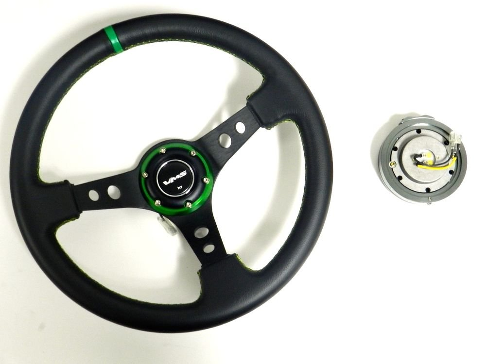 VMS RACING UNIVERSAL GREEN STEERING WHEEL & GUNMETAL QUICK RELEASE KIT