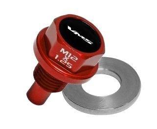 VMS HONDA ACURA MAGNETIC OIL PAN DRAIN PLUG BOLT KIT W/ CRUSH WASHER - RED 2